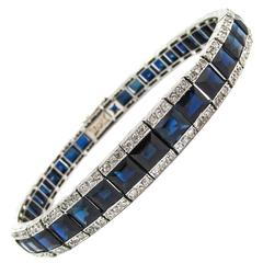 French Art Deco Sapphire Diamond Platinum Bracelet