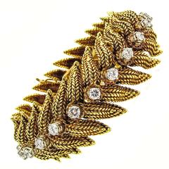 1970s Tiffany & Co. Diamond Braided Gold Bracelet