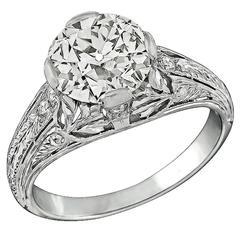 Antique 2.11 Carat Diamond Platinum Engagement Ring