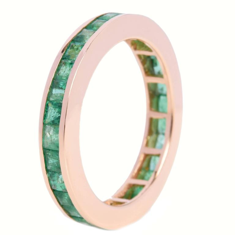 Engagement Eternity Emerald Gold Band Ring