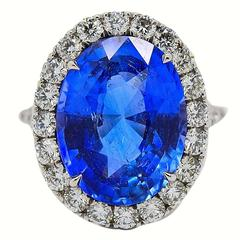 10.49 Carat GIA Cert Blue Sapphire Diamond Gold Ring