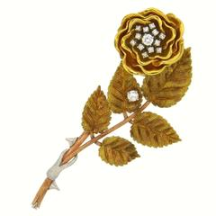 After Franz Xavier Zirnkilton Diamond Gold Rose Brooch Pin