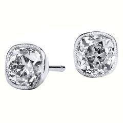 Old Mine Cushion Cut Diamond Gold Platinum Stud Earrings