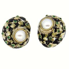 Trianon Pearl Emerald Gold Large Shell Earrings