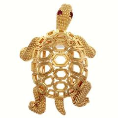 Cartier Paris Ruby Gold Turtle Brooch