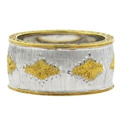Buccellati Geminato Two Color Gold Wide Wedding Band Ring
