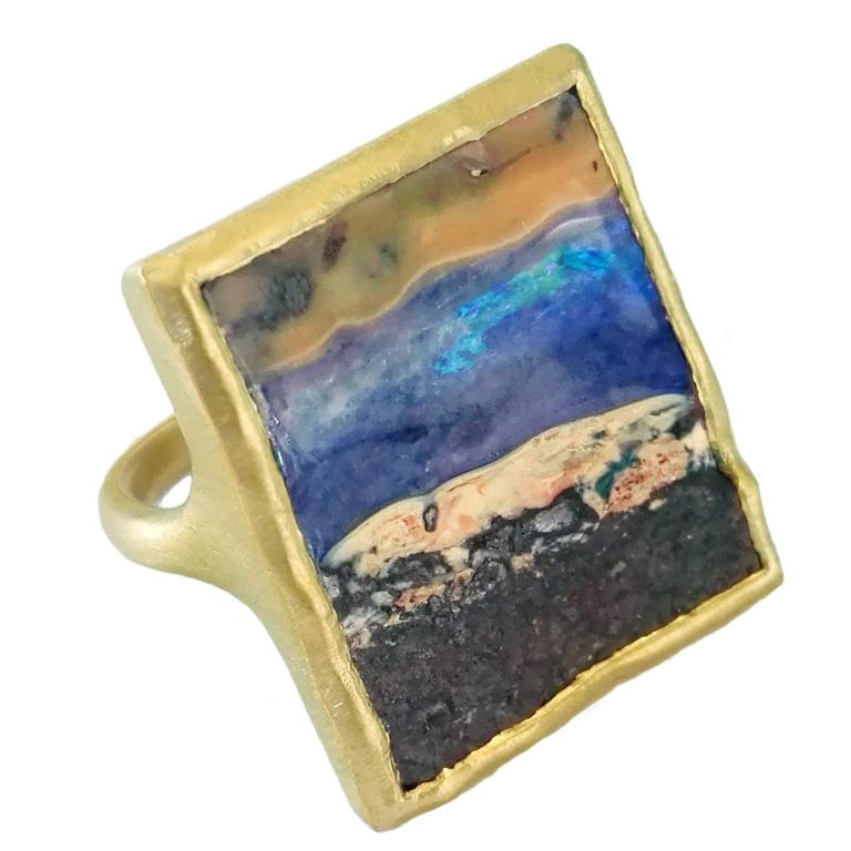 Dalben Unique Boulder Opal Satin Gold Ring