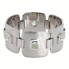 Colleen B. Rosenblat – Bracelet 18K Hammered White Gold & Diamonds