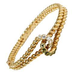 1970s Boucheron Green Garnet Diamond Gold Bangle Bracelet