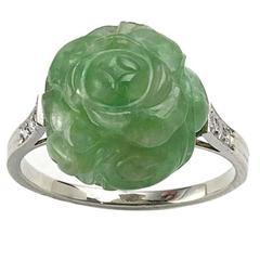 Art Deco Carved Jadeite Jade Diamond Gold Ring