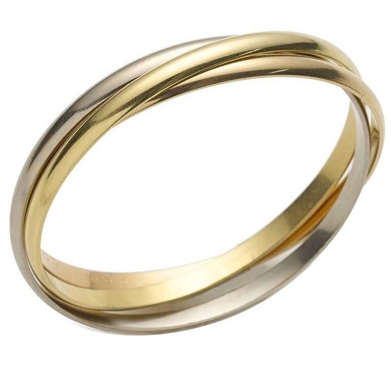 "Cartier Three Color Gold ""Trinity"" Bangle Bracelet"