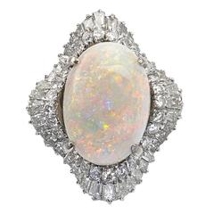 1950s Opal Diamond Gold Cluster Ring