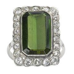 Tourmaline Diamond Platinum Cluster Ring