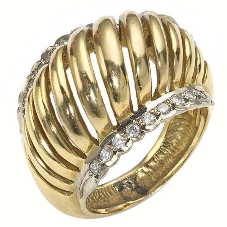 Lalaounis Diamond Two Color Gold Domed Ring