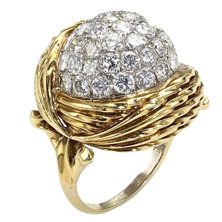 Diamond Gold Bombe Ring  For Sale