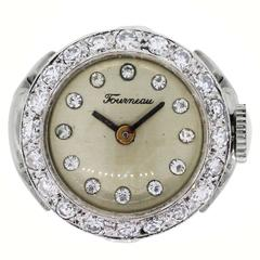 Tourneau Diamond Gold Ring Watch