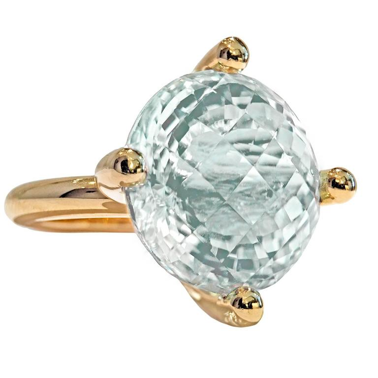 Erich Zimmermann Custom Cut Pale Blue White Topaz Gold Solitaire Princess Ring