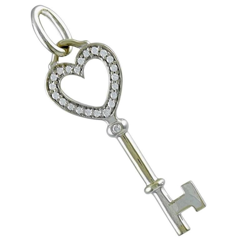 Tiffany & Co. Diamond Gold Key Pendant