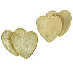 Tiffany & Co. Gold Double Heart Ear Clips