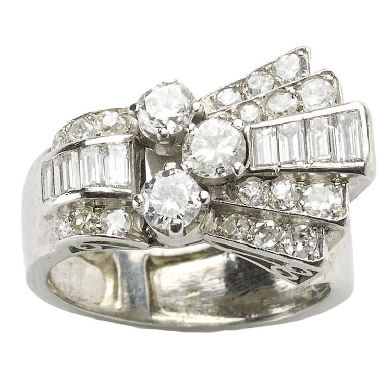1940s Diamond Platinum Dress Ring