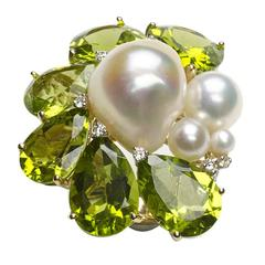 Peridot Pearl Diamond Gold Cluster Ring