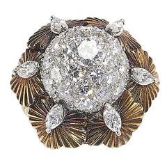 Diamond Gold Bombe Flower Ring