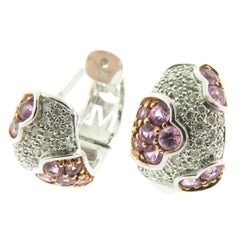 Pink Sapphire Diamond Gold Huggie Earrings