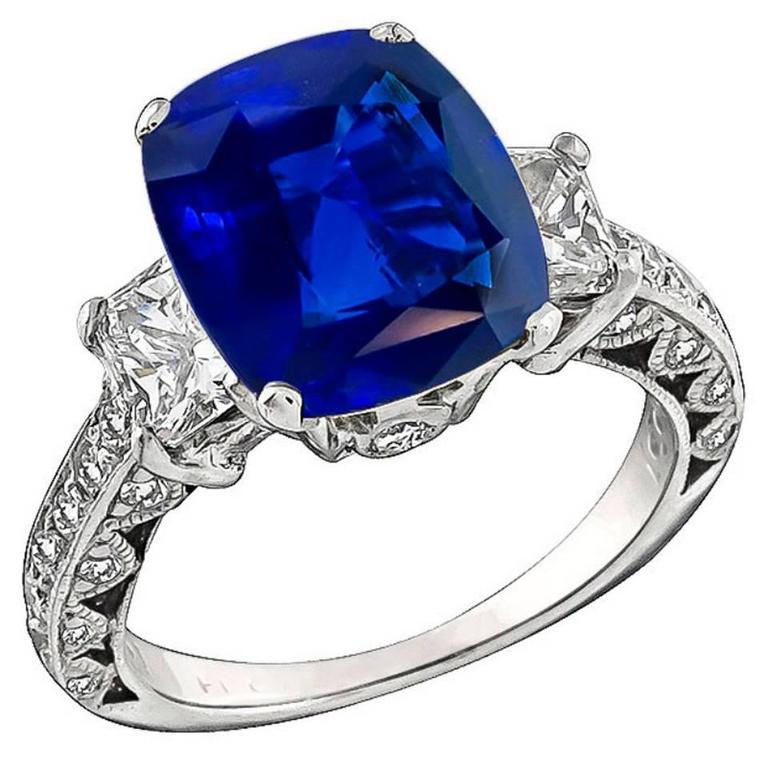 Stunning Natural 3.99 Carat Sapphire Diamond Platinum Ring