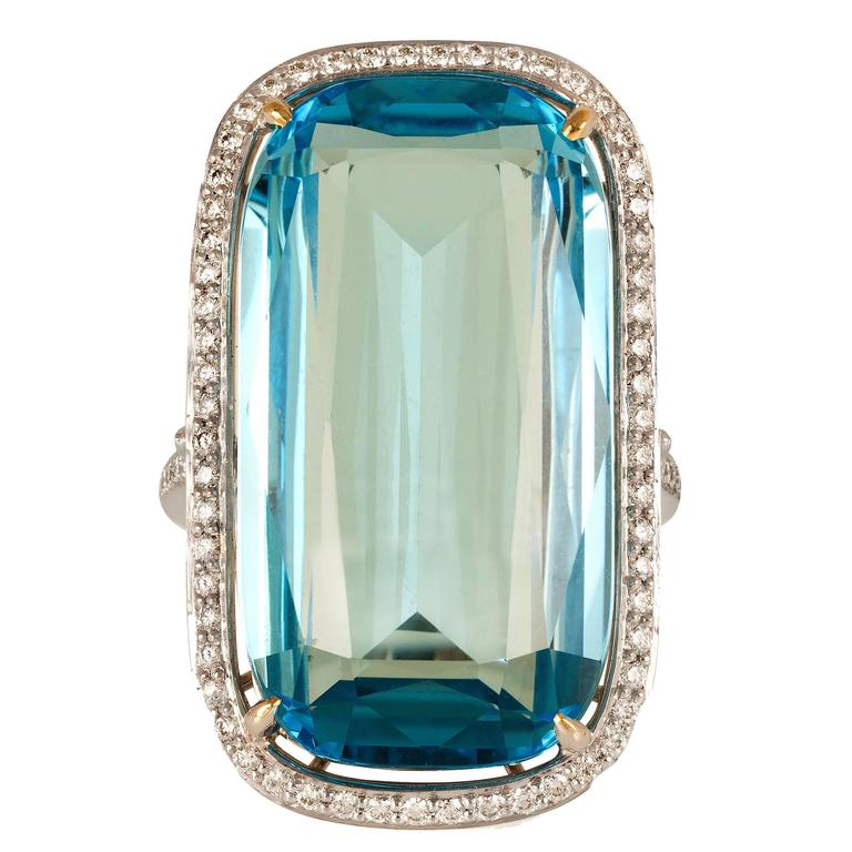 Paolo Costagli Blue Topaz Diamond Gold Ring