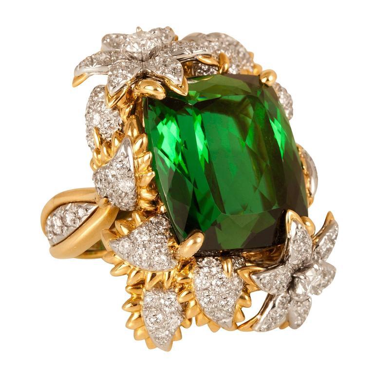 Bielka Green Tourmaline Diamond Gold Platinum Ring  1