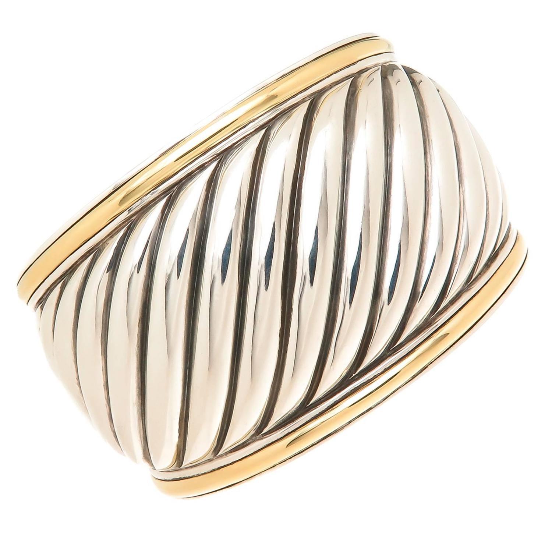David Yurman Wide Silver Gold Thoroughbred Cuff Bracelet