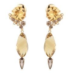 Denoir 18K Gold Citrine Topaz Diamond Earrings