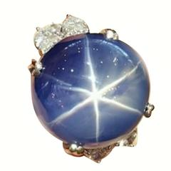 101.55 Carat GIA Certified Unheated Ceylon Star Sapphire Diamond Platinum Ring