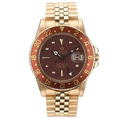 Rolex Yellow Gold GMT Master Rootbeer Automatic Wristwatch