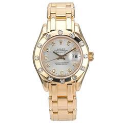 Rolex Yellow Gold Diamond Pearlmaster Automatic Wristwatch