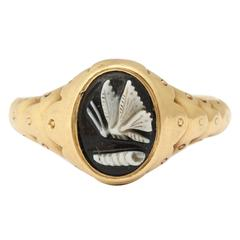 Victorian Gold Psyche Ring with Hidden Locket