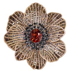 Alex Soldier Mandarin Garnet Diamond Gold Coronaria Brooch, Cuff, Necklace, Ring