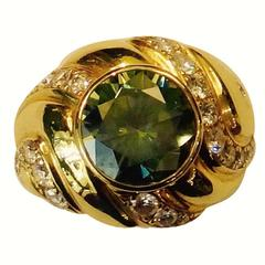 Green Zircon Pave Diamond Gold Dome Ring