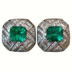 5.34 Carats GIA Cert Colombian Emeralds Diamond Gold Earrings