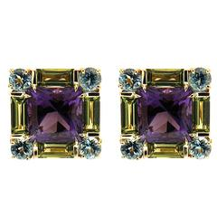 Valentin Magro Square Amethyst Peridot Aquamarine Gold Earrings