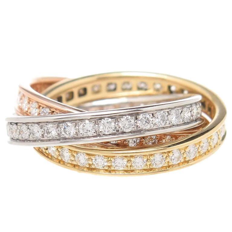 Cartier Trinity Tricolor Diamond Gold Ring