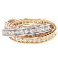 Cartier Trinity Tricolor Diamond Gold Ring