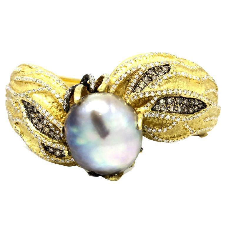 Large Baroque Pearl Diamond Textured Gold Bangle Bracelet