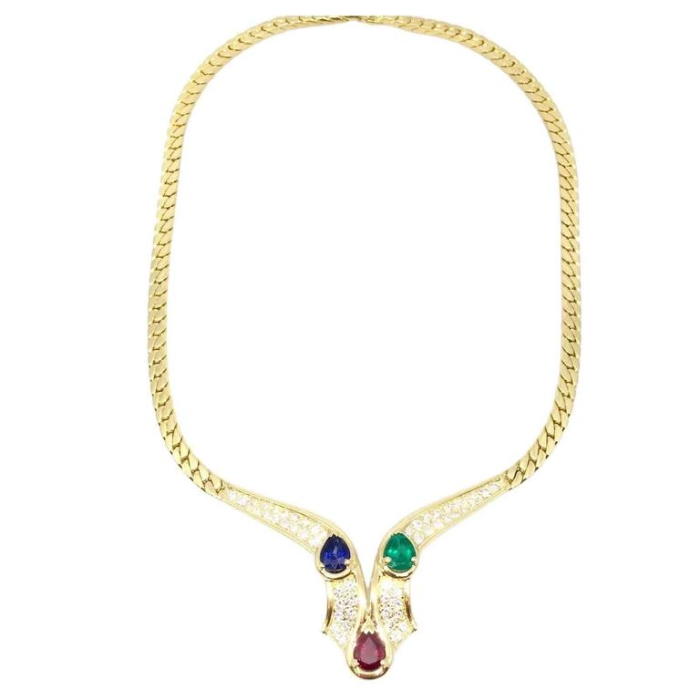 Mauboussin Sapphire Ruby Emerald Diamonds Gold Necklace