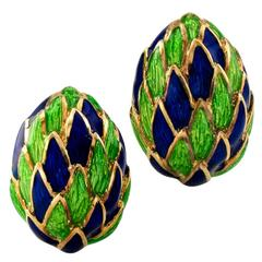 1970s Blue and Green Enamel Gold Clip-On Earrings