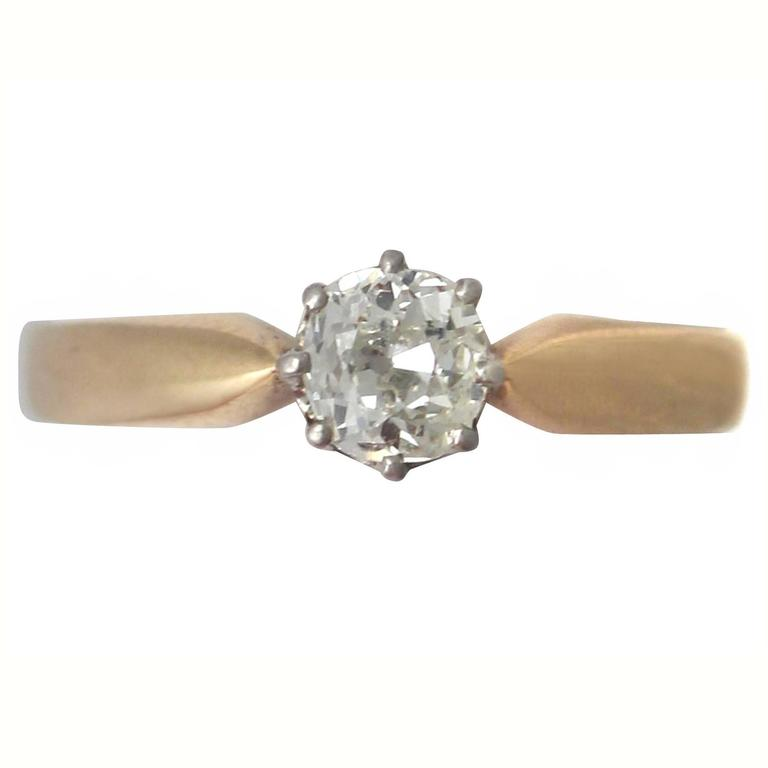 0.45Ct Diamond and 14k Yellow Gold Solitaire Ring - Antique Circa 1910