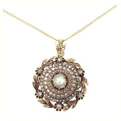 2.95Ct Diamond and 14k Yellow Gold Pendant - Antique Victorian