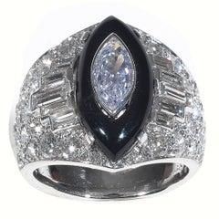 Fancy Cut Diamonds Onyx Platinum Cluster Bombe Ring