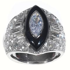 Fancy Cut Diamonds Onyx Platinum Cluster Bombe Ring