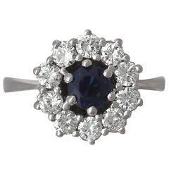0.46Ct Sapphire and 0.45Ct Diamond, 18k White Gold Cluster Ring - Vintage